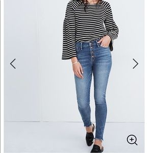 """Madewell 10"""" High-Rise Skinny Jean Button Front 26"""